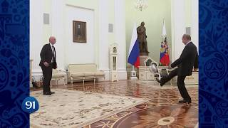 Putin juggles ball in '100 days to Russia World Cup' FIFA clip width=