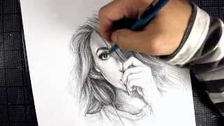 getlinkyoutube.com-Kalel Pencil Portrait (Strictly Hatching)