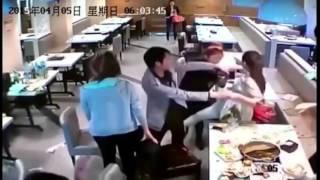 getlinkyoutube.com-LiveLeak - Girls throw hot pots to fight at restaurant