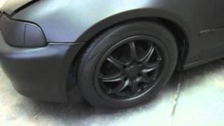 getlinkyoutube.com-CD Auto Dip Wrap - Rubber Paint - Black Matte Civic