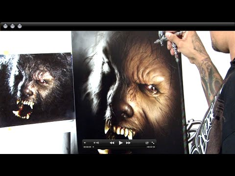 &quot;The Wolf Man&quot; Mastering Photo Realism Airbrushing w/ Cory Saint Clair