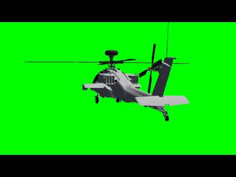 Apache AH-64D Longbow Helicopter in flight - green screen effects