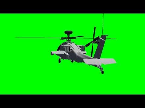 Apache AH-64D Longbow Helicopter in flight - green screen effects