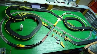 getlinkyoutube.com-HO SLOT CARS vs FREIGHT TRAIN HO Scale Layout - Crashes at Road & Rail crossing