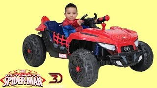 getlinkyoutube.com-Dynacraft Ultimate Spiderman 12V Battery Powered Ride-On Car Dune Buggy Unboxing Park Playtime Ckn
