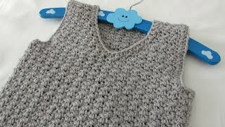 getlinkyoutube.com-How to crochet a textured v-neck vest tutorial - any size