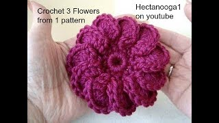 getlinkyoutube.com-DIY how to crochet 3 crochet flowers