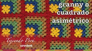 getlinkyoutube.com-Granny square o cuadrado asimétrico tejido a crochet en varios colores de lana!