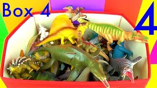 DINOSAUR Box 4 KidsToy Collection Jurassic World T rex Mosasaurus Velociraptor Toy Review in English