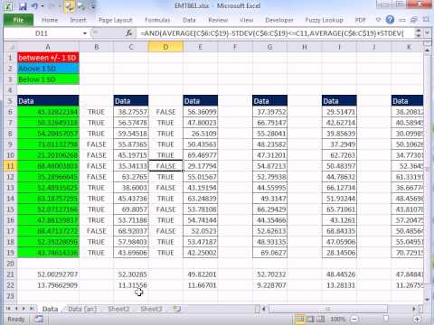 Excel Magic Trick 861: Conditional Format 50 Columns w Format Painter +/- 1 Standard Deviation