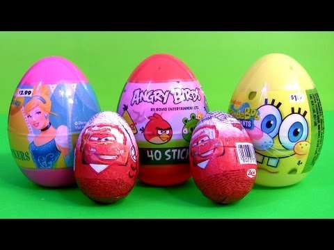 Disney Cars 2 Zaini Eggs Toy Surprise Angry Birds Easter Egg Spongebob Squarepants Holiday Edition