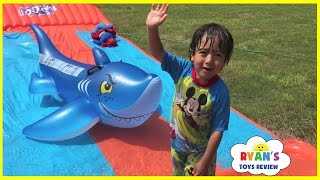 getlinkyoutube.com-Water Slide for Kids Compilation! Inflatable water toys Kids playtime in the Pool Disney Cars