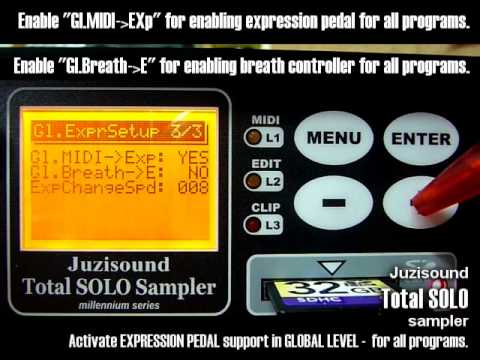 Settings for Exoression Pedal in Juzisound Total SOLO Sampler