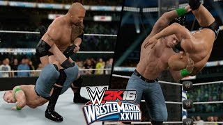 WWE 2K16 - The Rock vs. John Cena Highlights! (WrestleMania 28)
