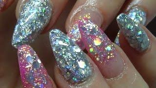 getlinkyoutube.com-full on glitter acrylic nails (bling bling)