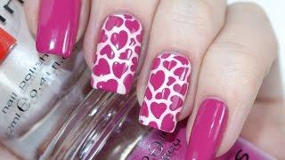 Красивый Дизайн Ногтей с Сердечками на День Святого Валентина