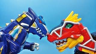 getlinkyoutube.com-공룡 로봇 대격돌 파워레인저 다이노포스 DX 티라노킹(가브티라 스테고치 드릴케라) 대 DX 수호킹(수호드릴 수호렉스) Power Ranger Dino Charge Toys