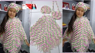 getlinkyoutube.com-PONCHO CON RELIEVE A CROCHET PARA NIÑA