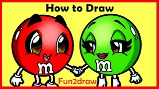 getlinkyoutube.com-How to Draw Cartoons - M + M's Candy - Fun2draw