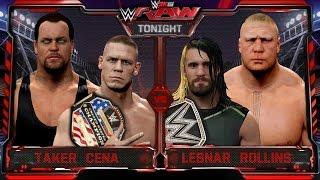 WWE RAW 2K15 - Undertaker & John Cena vs Brock Lesnar & Seth Rollins - RAW 7/27/15