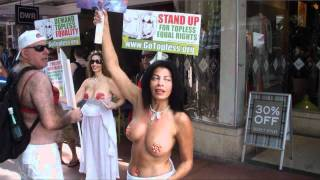 getlinkyoutube.com-Topless protest in Miami Beach on 8/21/11