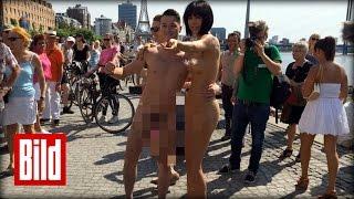 getlinkyoutube.com-Sexy Selfie mit Nackt-Künstlerin Milo Moiré - Kunst am Mann - Museum