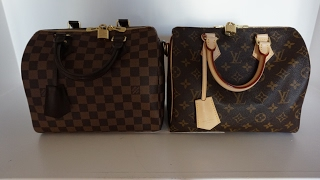Louis Vuitton Comparison Speedy B monogram vs Damier Ebene, wear and tear and what's in my bag