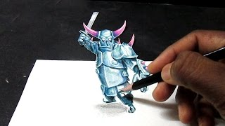 getlinkyoutube.com-Clash Of Clans P.E.K.K.A 3D ART / DRAWING ILLUSION