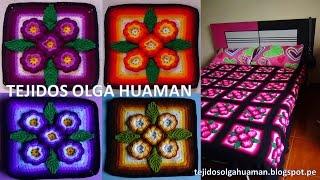 "tejidos a crochet paso a paso: muestra ""5 flores"" para colchas video 2"