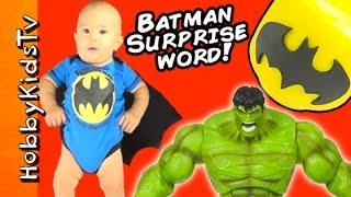 getlinkyoutube.com-BATMAN Surprise Word HobbyGator + Lego Head Surprise Toys Hulk Frozen HobbyKidsTV