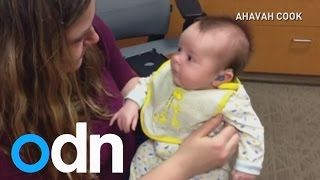 Must watch: Baby hears mum's voice for first time