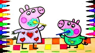 getlinkyoutube.com-Peppa Pig and George - Tooth Brushing BEST LEARNING Coloring Book Pages Rainbow Colors - Kids Videos