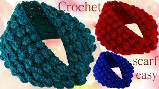 getlinkyoutube.com-Aprende hacer bufanda infinita con hojas en relieve a Crochet
