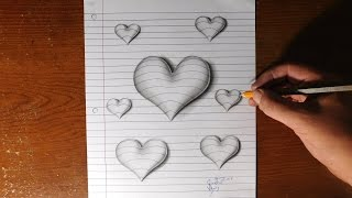 getlinkyoutube.com-How to Draw 3D Hearts - Line Paper Trick Art