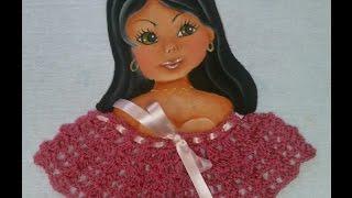 getlinkyoutube.com-como fazer boneca com blusa de croche pintura em tecido Apostila risco num 40
