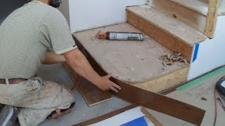 getlinkyoutube.com-How to Install Hardwood Stairs: Curved Stairs Riser Installation