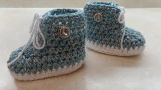 getlinkyoutube.com-CROCHET How to #Crochet #Baby Tennis #Shoe Crochet #Booties Crochet #Sneakers #TUTORIAL #312