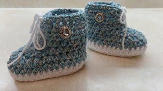 getlinkyoutube.com-CROCHET How to #Crochet #Baby Tennis #Shoe Crochet #Booties Crochet #Sneakers #TUTORIAL #312 LEARN
