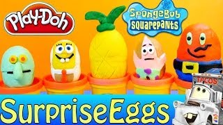 getlinkyoutube.com-Spongebob Surprise Eggs Play Doh Disney Cars 2 Mater Nickelodeon Surprise Toy Egg