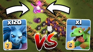 getlinkyoutube.com-1 BABY DRAGON CRUSHES 120 MINIONS!!! ULTIMATE TROOP SHOW DOWN IN CLASH OF CLANS!!