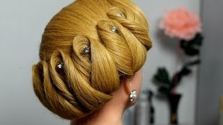 getlinkyoutube.com-Hairstyle for medium hair. Wedding updo