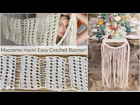 Macrame Inspired Crochet Table Runner Tutorial