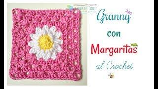 getlinkyoutube.com-Cómo hacer un Granny square con MARGARITAS al crochet