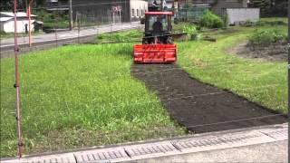 エアコンキャビン付小型トラクターで田を耕しました。 Kubota KT230