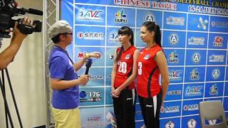 getlinkyoutube.com-Asian Women Volleyball U19 Press Conference Kazakhstan #20 Sabina Altynbekova #3 Tatyana