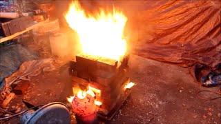 getlinkyoutube.com-300KW Waste oil burner Melts Steel!!