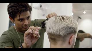 getlinkyoutube.com-Men's platinum blonde contrast grow out haircut ★ Hairstyling tips for men