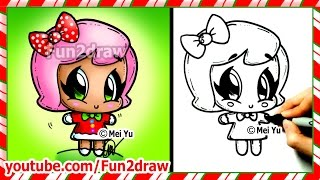 getlinkyoutube.com-Cute Gingerbread Girl - How to Draw Christmas Easy Step by Step Beginners - Top Drawing Fun2draw