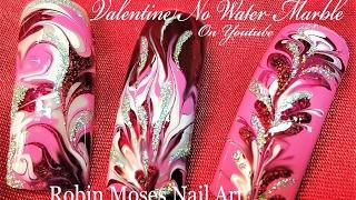 No water needed!  DIY Valentine Drag Marble Nails Art Design Tutorial