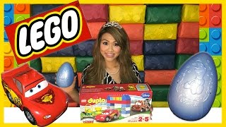getlinkyoutube.com-Disney Cars Lightning McQueen Tow Mater Races Lego Duplo Egg Surprise Thomas and Friends Kids Toys